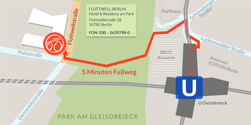 FLOTTWELL BERLIN Hotel - Karte Anreise